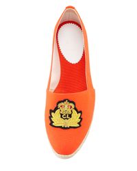Christian Louboutin Gala Embroidered Crest Espadrille Loafer Flame