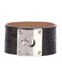 Fendi - Black Textured Leather Cuff - Lyst