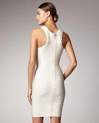 Hervé Léger Natural Scalloped Bandage Dress