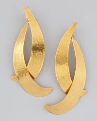 Herve Van Der Straeten | Metallic Virgules Crescent Drop Earrings | Lyst