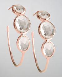 Ippolita Multicolor Rose Clear Quartz Hoop Earrings