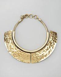 Lanvin | Metallic Hammered Breastplate Necklace | Lyst