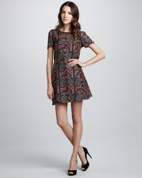 Marc By Marc Jacobs | Red Geo Maze Printed A-Line Dress | Lyst