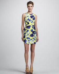 MILLY Blue Floralprint Peplum Dress