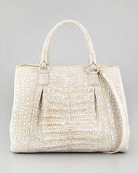 Nancy Gonzalez Executive Double-zip Crocodile Tote Bag White