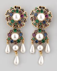 Oscar de la Renta | Green Baroque Drop Earrings | Lyst