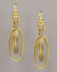 Paige Novick   Metallic Pave Oval Hoop Earrings   Lyst