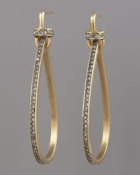 Paige Novick - Metallic Pave Teardrop Hoop Earrings - Lyst