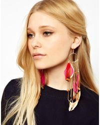 River Island Multicolor Feather and Chain Dangle Earrings