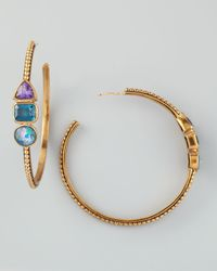 Stephen Dweck | Multicolor Triplestone Hoop Earrings | Lyst