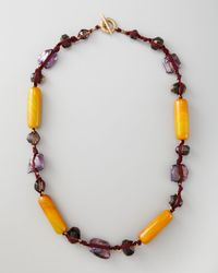 Stephen Dweck | Knotted Long Multi-stone Necklace Purple | Lyst