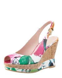 Stuart Weitzman Multicolor Jean Floralprint Patent Wedge Sandal
