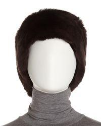 Surell - Brown Rabbit Fur Headband - Lyst