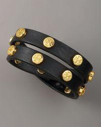 Tory Burch | Black Logo-studded Bracelet | Lyst
