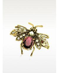 Alcozer & J - Multicolor Gemstone Brass Bee Brooch - Lyst