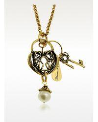 Alcozer & J - Metallic Heart Key Long Necklace - Lyst
