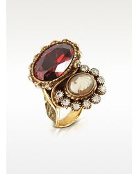 Alcozer & J - White Cameo Brass Ring - Lyst