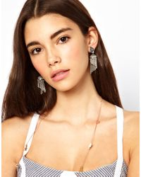 ASOS Collection - Metallic Mini Lampshade Tassel Earrings - Lyst