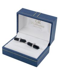 AZ Collection - Metallic Double Sided Black Resin Silver Plated Cufflinks for Men - Lyst