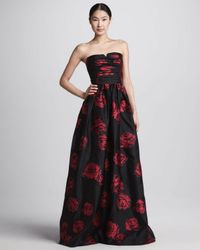 David Meister Red Roseprint Strapless Ball Gown