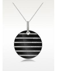Emporio Armani - Black Enamel and Crystals Pendant Necklace - Lyst