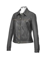 FORZIERI | Womens Black Italian Studded Leather Jacket | Lyst