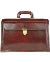 FORZIERI | Dark Brown Italian Leather Buckled Medium Doctor Bag for Men | Lyst