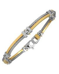 FORZIERI | Metallic Difulco Line Gold And Stainless Steel Link Bracelet for Men | Lyst