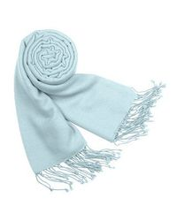 FORZIERI | Orange Solid Pashmina & Silk Fringed Shawl | Lyst