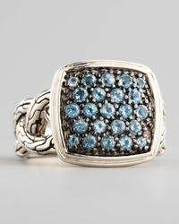 John Hardy | Metallic Classic Chain Small Cushion Woven Ring Blue Topaz for Men | Lyst