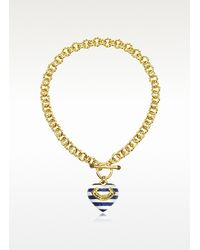 Juicy Couture - Metallic Striped Heart Link Necklace - Lyst