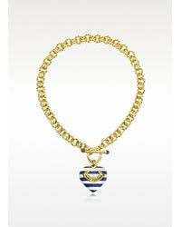Juicy Couture | Metallic Striped Heart Link Necklace | Lyst
