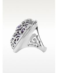 Just Cavalli - Metallic Rolly - Crystal Logo Ring - Lyst