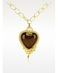 Just Cavalli - Metallic Snake Heart Pendant Gold Plated Chain Necklace - Lyst