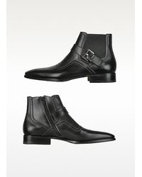 Moreschi - Black Calf Leather Ankle Strap Boots for Men - Lyst