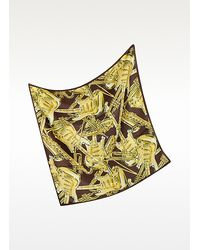 Moschino Black Musical Instruments Print Silk Square Scarf