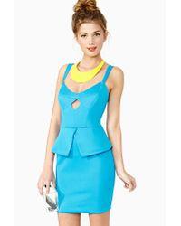 nasty gal diamond girl peplum dress in blue  lyst
