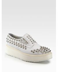a8959a0cfbb Lyst - Prada Studded Leather Laceup Platform Oxfords in White