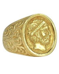 Torrini | Metallic Socrates - Engraved Oval Yellow Gold Men's Ring for Men | Lyst