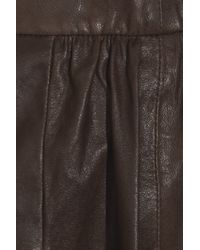 Vince Brown Leather Mini Skirt