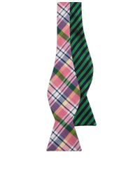 Brooks Brothers - Pink Social Primer Reversible Bow Tie: Madras And Bb#5 Stripe for Men - Lyst