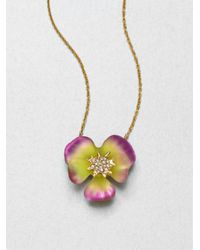 Alexis Bittar | Metallic Lucite and Crystal Pansy Necklace | Lyst