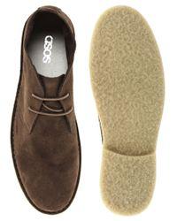 ASOS Brown Asos Lace Up Desert Boots for men