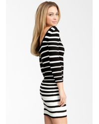 Bebe White Wide Multi Stripe Sweater Dress