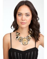 Bebe | Black Textured Stud Chain Statement Necklace | Lyst