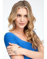 Bebe - Metallic Chevron Metal Stone Hand Jewelry - Lyst