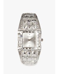 Bebe - White Jeweled Rhinestone Cuff Watch Web Exclusive - Lyst