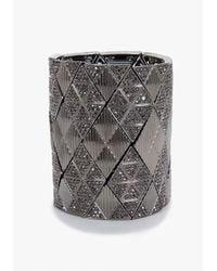 Bebe | Metallic Geometric Crystal Stretch Cuff Bracelet | Lyst