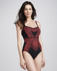 Gottex Red Indochine Printed Onepiece Swimsuit