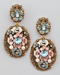 Oscar de la Renta - Pink Baroque Floral Earrings - Lyst